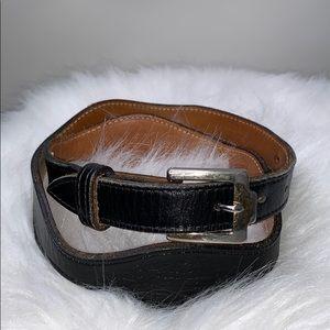 VINTAGE JUSTIN • Scalloped Black Leather Belt